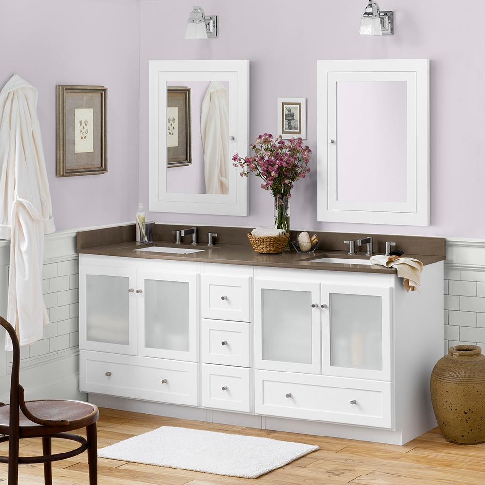 "72"" Shaker Double Bathroom Vanity Set with Ceramic Sink and ..."