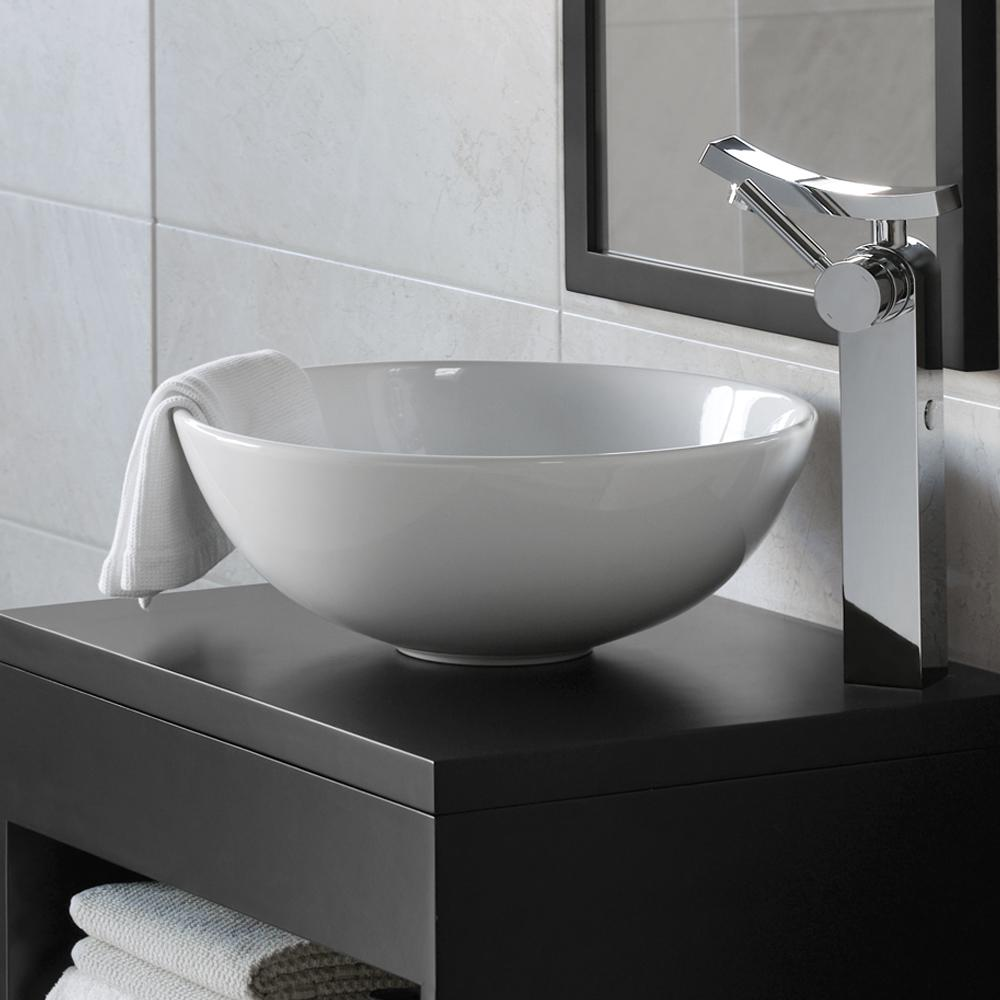 15 Quot Contour Round Ceramic Vessel Bathroom Sink In White
