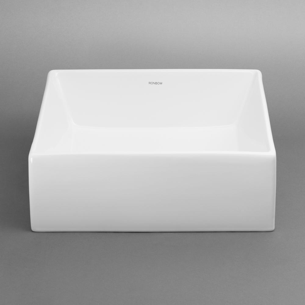 RONBOW 200033-WH BALANCE SQUARE CERAMIC VESSEL 16-9/16