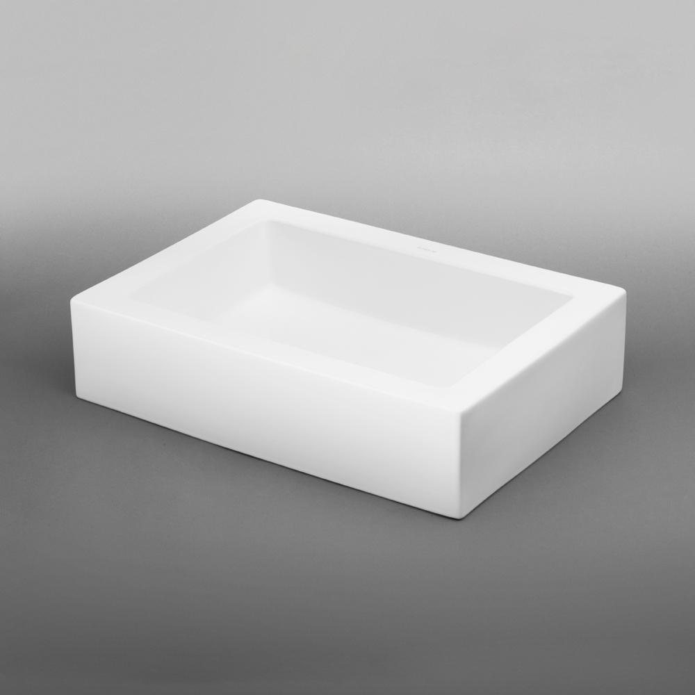 Bathroom sink rectangular - 22 Format Rectangular Ceramic Vessel Bathroom Sink In White
