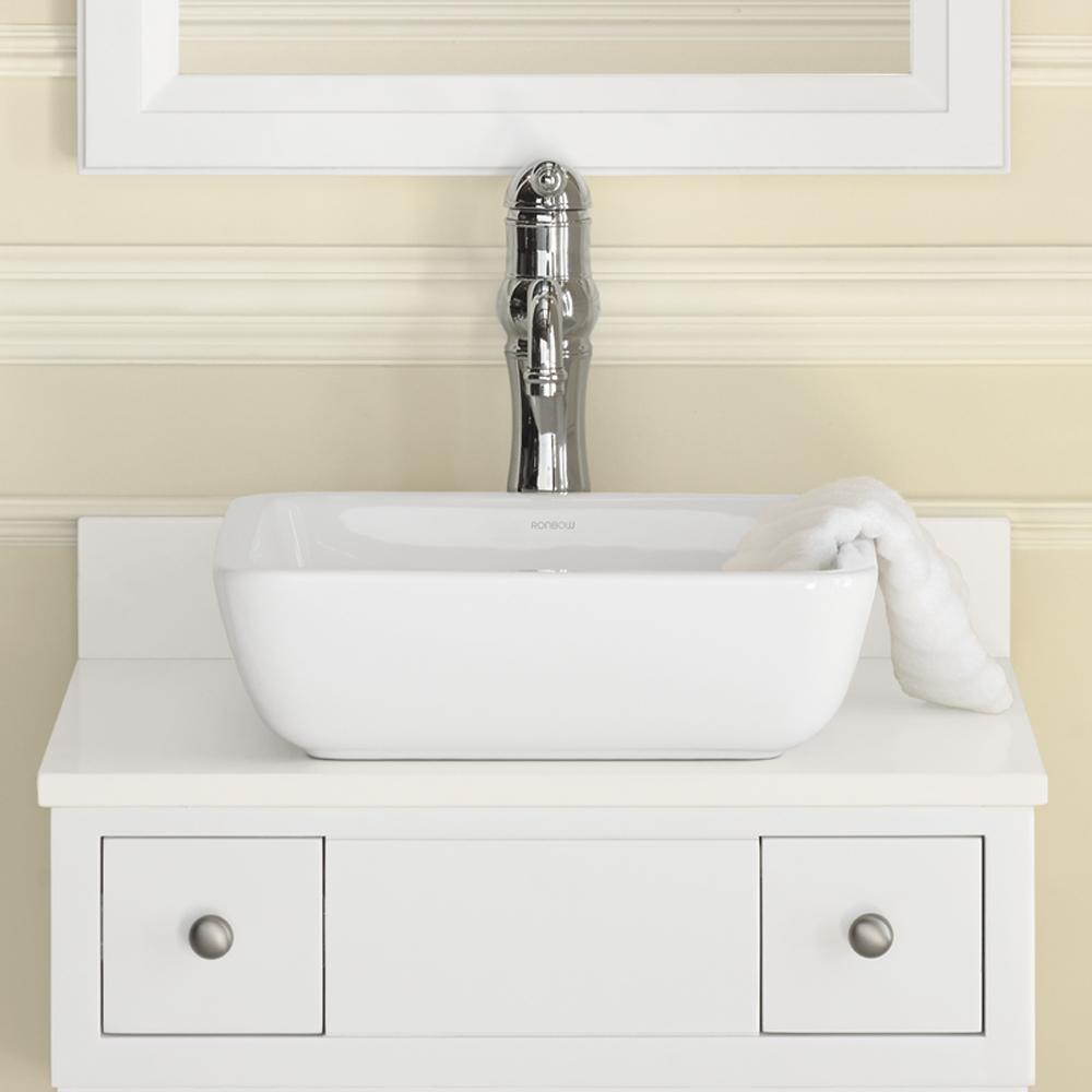 15 Quot Domain Square Ceramic Vessel Bathroom Sink In White