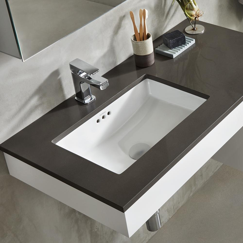 under bathroom sink 19 quot essence rectangular ceramic undermount bathroom sink 14855