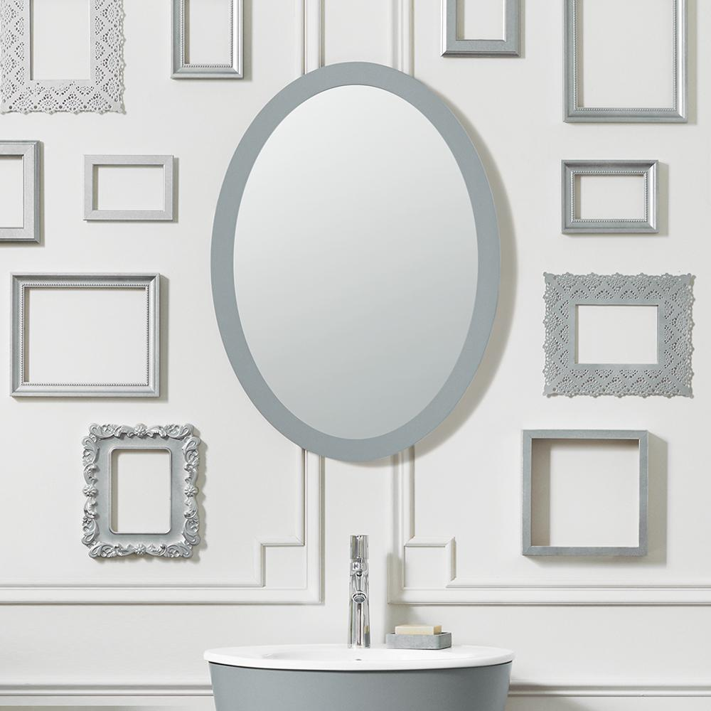 23 Contemporary Solid Wood Framed Oval Bathroom Mirror