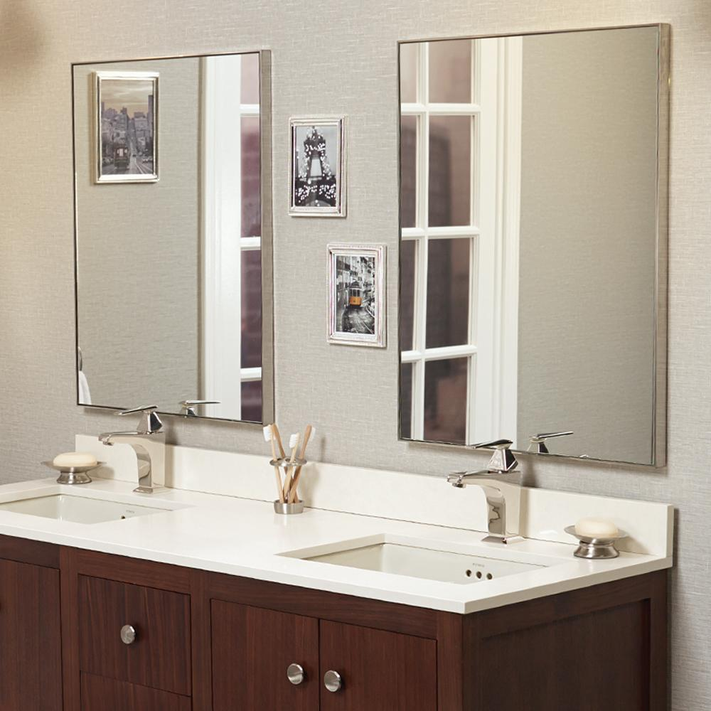 24 fortune contemporary metal framed bathroom mirror in brushed nickel - Bathroom Cabinets And Mirrors