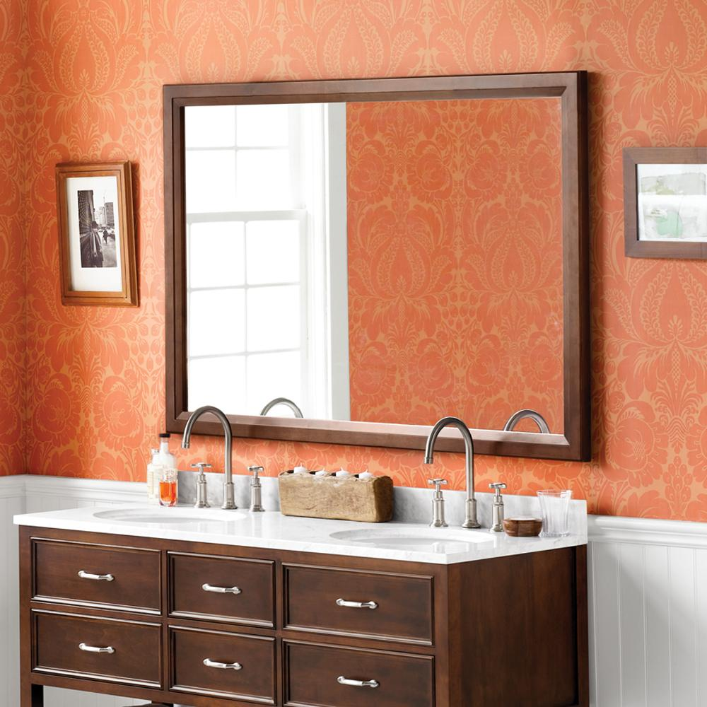 60 Quot Reuben Solid Transitional Wood Framed Bathroom Mirror