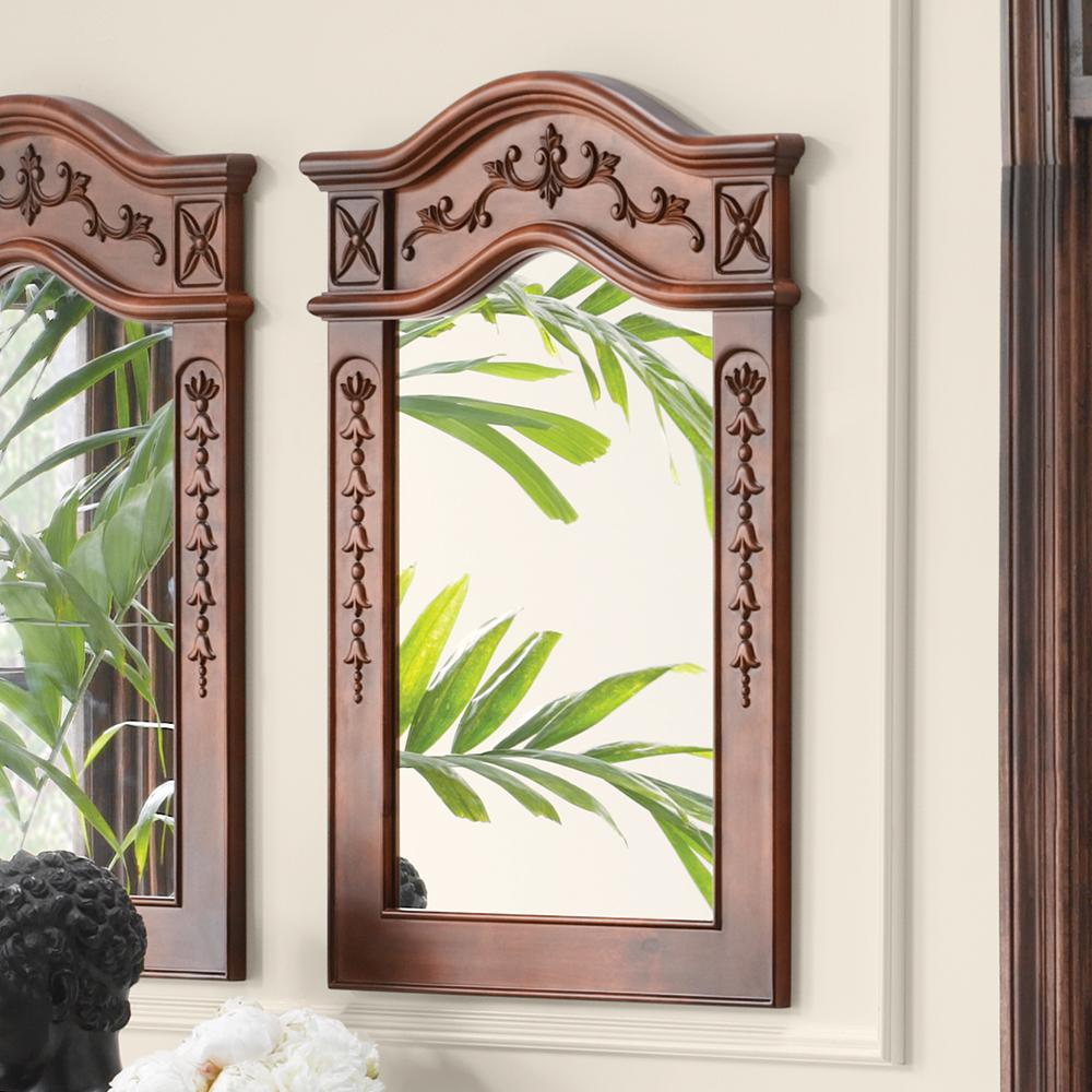 24 bordeaux traditional solid wood framed bathroom mirror in colonial for Cherry wood framed bathroom mirrors