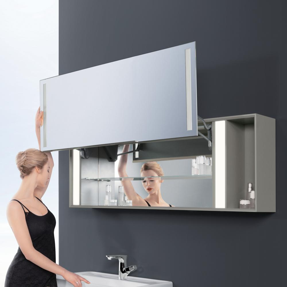 54 stack mirror cabinet with led in stone grey