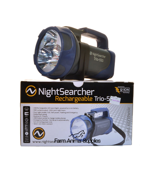 Nightsearcher Trio LED Handlamp Torch Rechargeable Handlamp