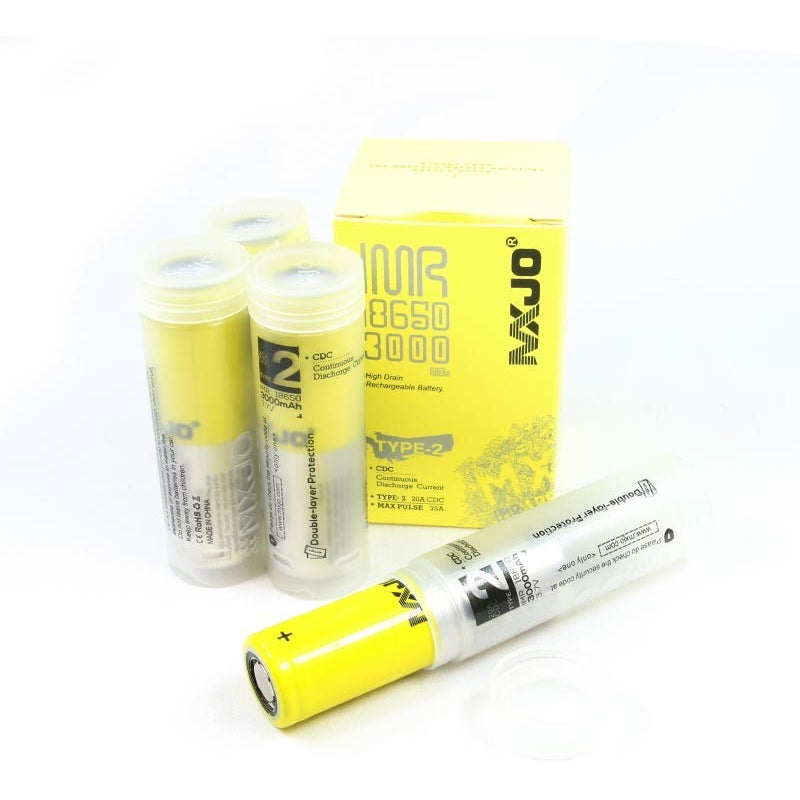 mxjo 18650 yellow/silver 3000mah 35a - with battery case