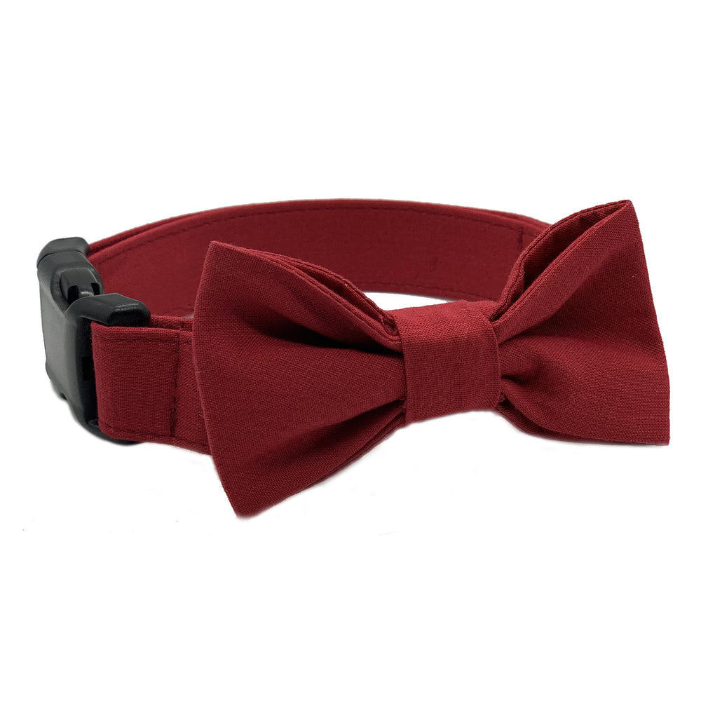 Burgundy Bow Tie Dog Collar Set