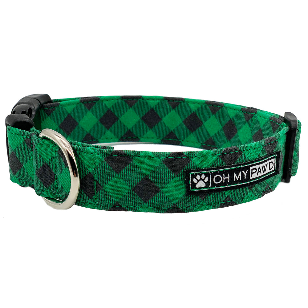 Green Buffalo Plaid Dog Collar