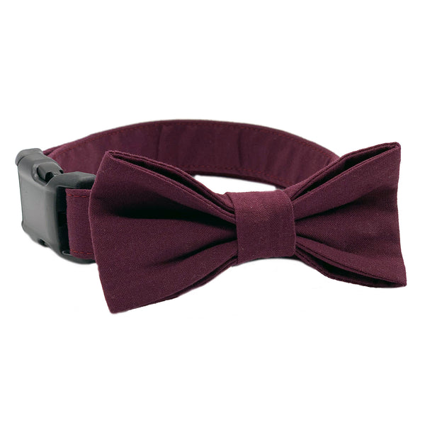 Maroon Bow Tie Dog Collar