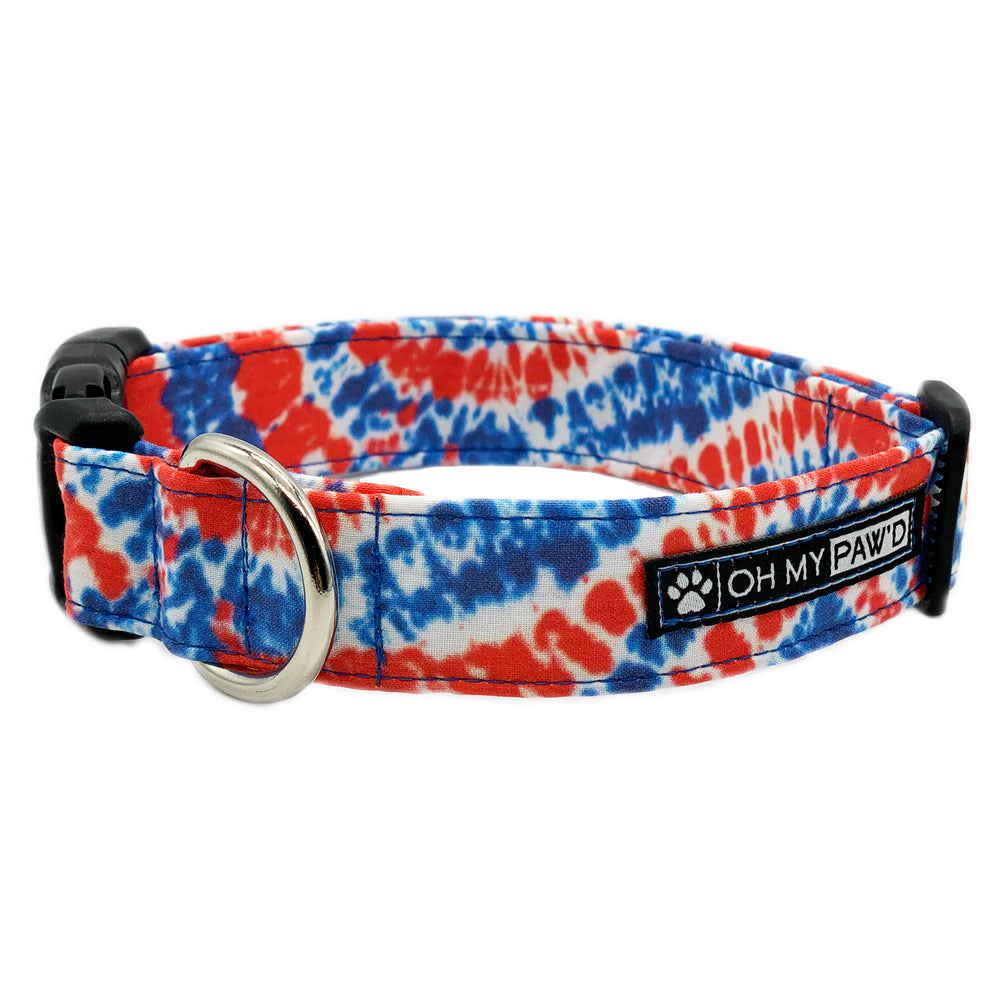 Patriotic Tie Dye Dog Collar