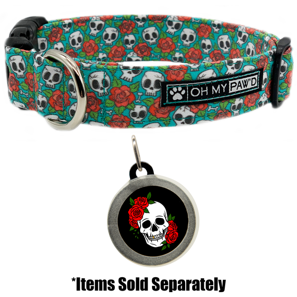 Skull and Roses Dog ID Tag