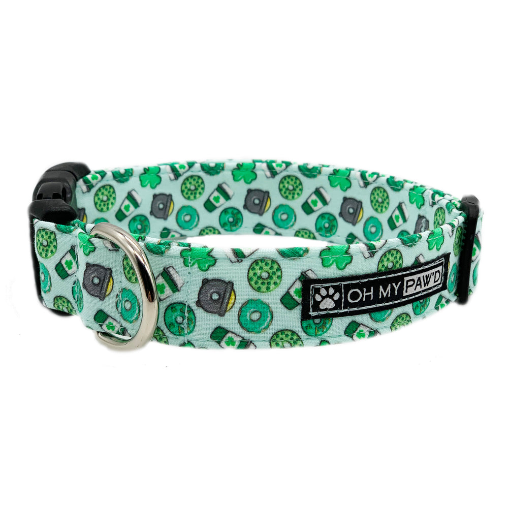 St Patrick's Day Donuts Dog Collar