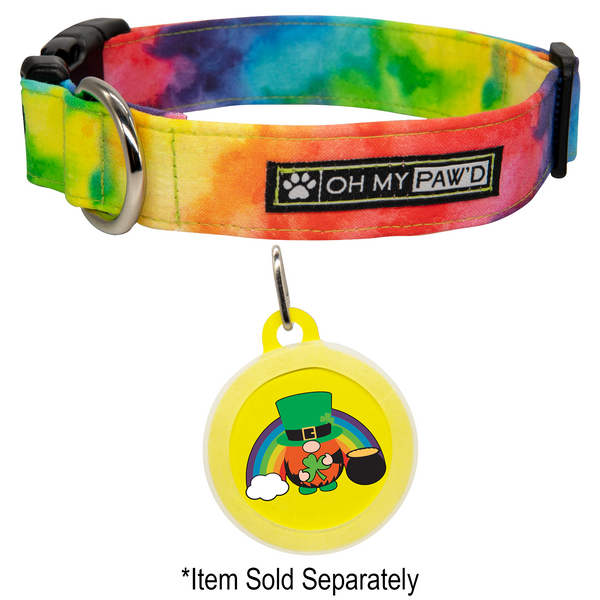 Rainbow Tie Dye Watercolor Dog Collar