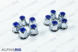 UNIVERSAL WHEEL LUG NUT COVER  (BLUE TOP REFLECTOR) CHROME