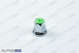 UNIVERSAL WHEEL LUG NUT COVER  (GREEN TOP REFLECTOR) CHROME