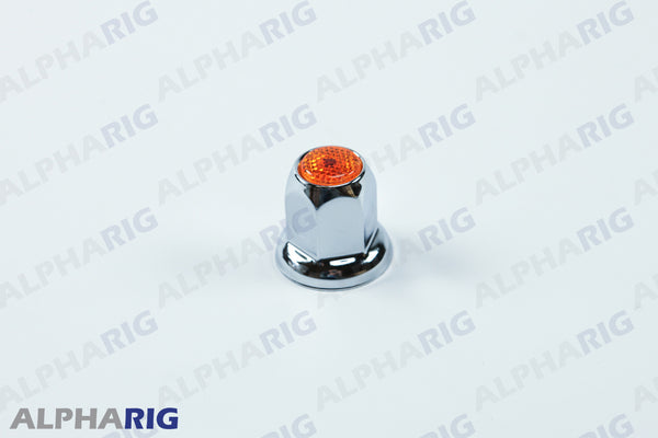 UNIVERSAL WHEEL LUG NUT COVER  (AMBER TOP REFLECTOR) CHROME