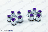 UNIVERSAL WHEEL LUG NUT COVER  (PURPLE TOP REFLECTOR) CHROME