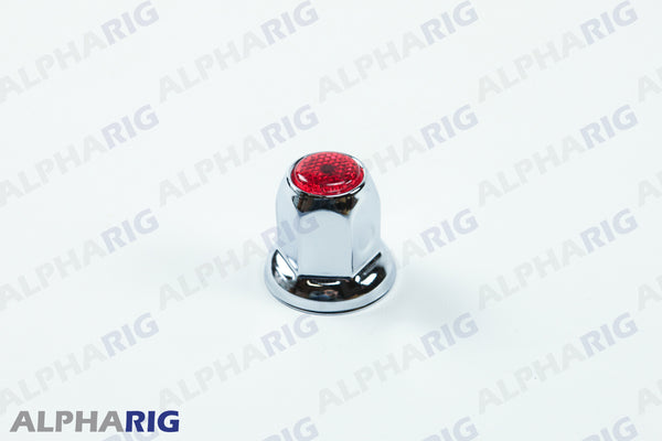 UNIVERSAL WHEEL LUG NUT COVER  (RED TOP REFLECTOR) CHROME