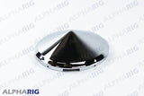 "UNIVERSAL FRONT HUB CAP CONE 7/16"" SHORT LIP FOR STEEL WHEEL (5 NOTCHED) CHROME"