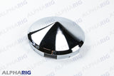 "UNIVERSAL FRONT HUB CAP CONE 1"" LONG LIP FOR ALUMINUM WHEEL (6 NOTCHED) CHROME"