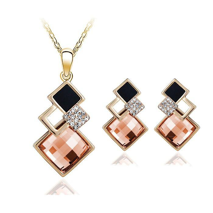 New Fashion womens Geometry square jewellery set of wedding jewerly sets for women with blue crystal african Female Jewelry set - Unrestory