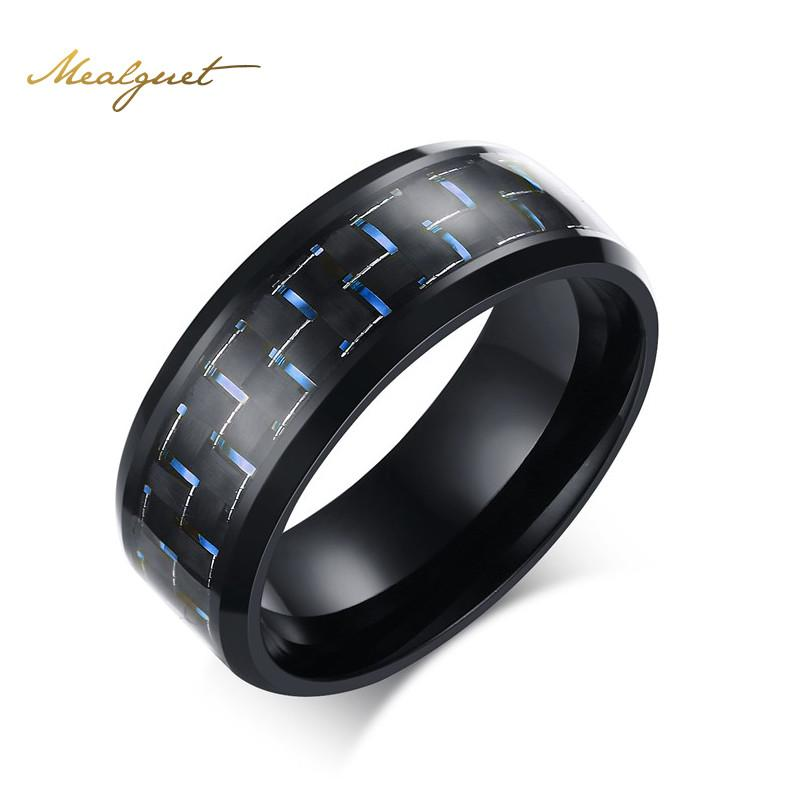 Meaeguet Fashion Black Simple Men Ring 8mm Men Jewelry Stainless Steel Rings Carbon Fiber Wedding Engagement Ring 3 Colors - Unrestory