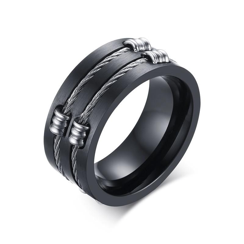 wedding black men with round bands titanium wire mens centre rings double ring jewelry cable product slit sizes s image products in meaeguet