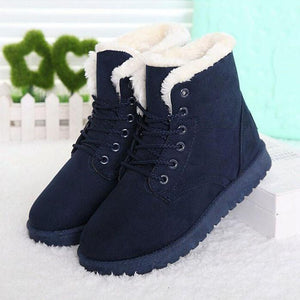 Women Boots Snow Warm Winter Boots Botas Lace Up Mujer Fur Ankle Boots Ladies Winter Shoes Black - Unrestory