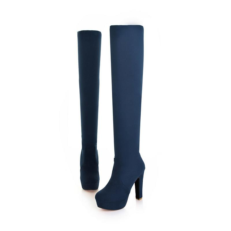 QUTAA 2017 New Women Suede Sexy Fashion Over the Knee Boots Sexy Thin High Heel Boots Platform Woman Shoes Black Blue size 34-43 - Unrestory