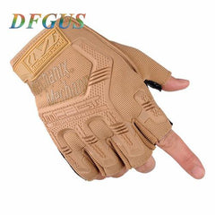 Military Tactical Gloves Outdoor Army Black Half Finger