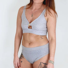 Grey Dotty Twist Front Bra