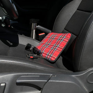 Plaid Hottle heat pad in car seat