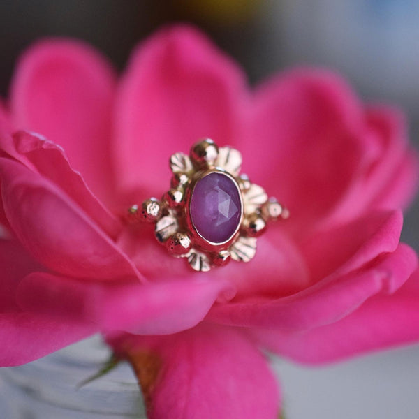 14k Solid Rose Gold Supernova Ring with rose cut Sapphire size 5