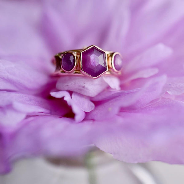 14k Solid Rose Gold Moonlight Siren Ring with rose cut Sapphires size 6