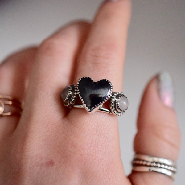 Heart Ring with Hematite and Rose Quartz size 8