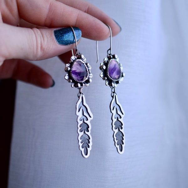 Atomic Amethyst and Shadow Lavender Earrings