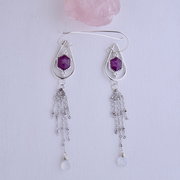 Rose Cut Sapphire with Rainbow Moonstone Earrings