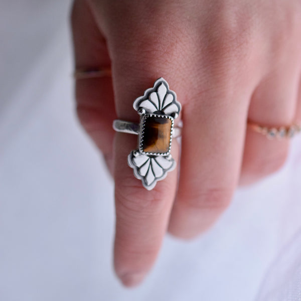 I Wished For You Too ring with Tigers Eye size 6