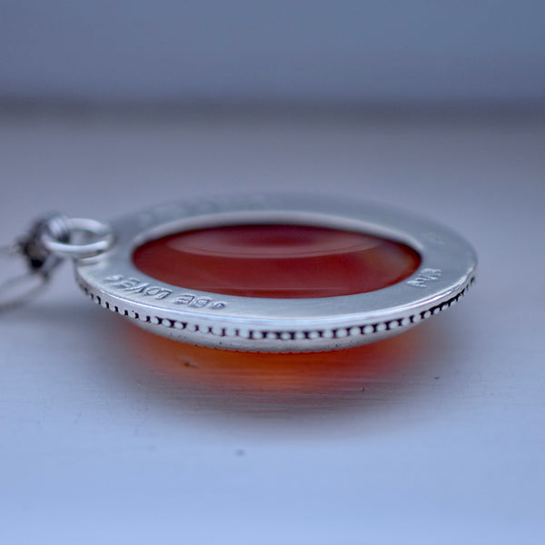 Mini Worry Stone Pendant with Carnelian