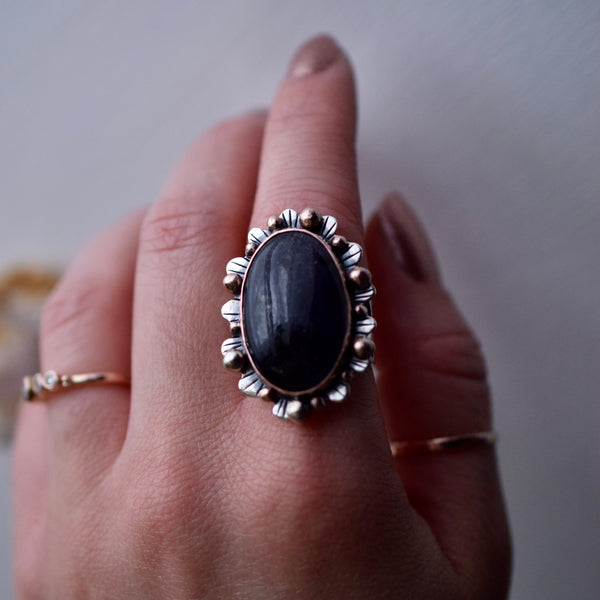 Little Dark Cloud Ring with Rainbow Moonstone size 12