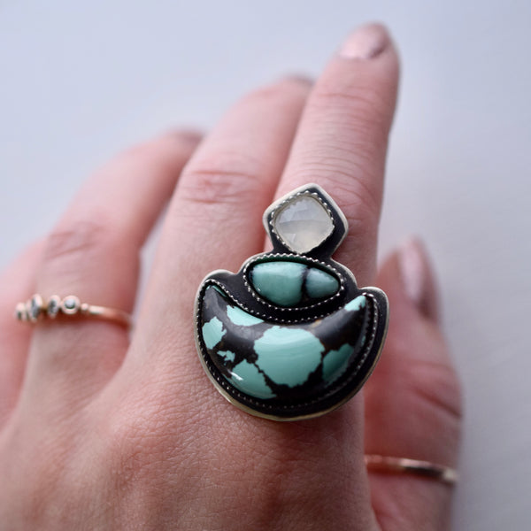 FINISHED IN BUYERS SIZE Meditating Moon Ring with Hubei Turquoise, Desert Bloom Varscite and White Moonstone
