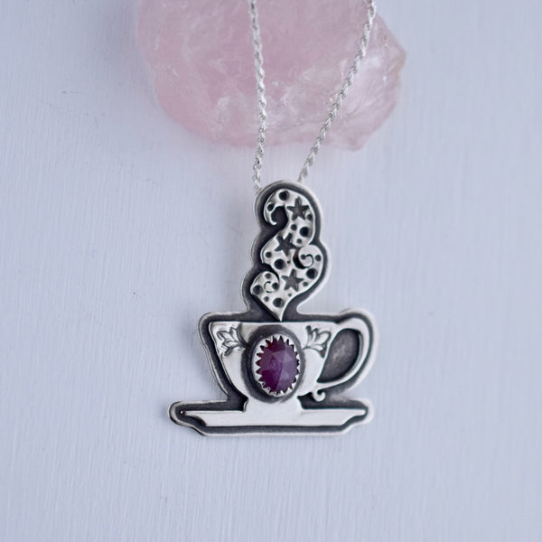 Cuppa Potion Pendant with Rose Cut Sapphire