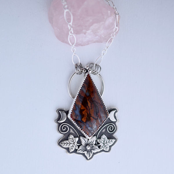 The Pumpkin Blossom Statement Pendant with Lavic Jasper Agate