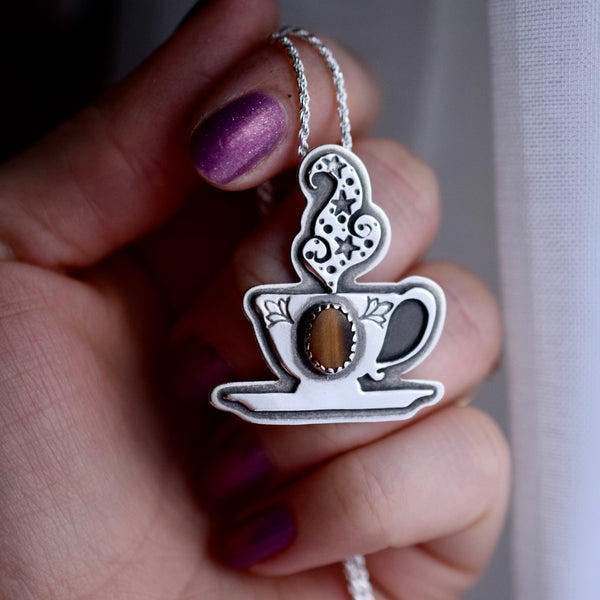 Cuppa Potion Pendant with Tigers Eye
