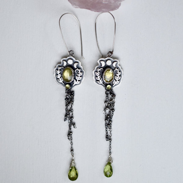 Mystical Sphene and Peridot Earrings