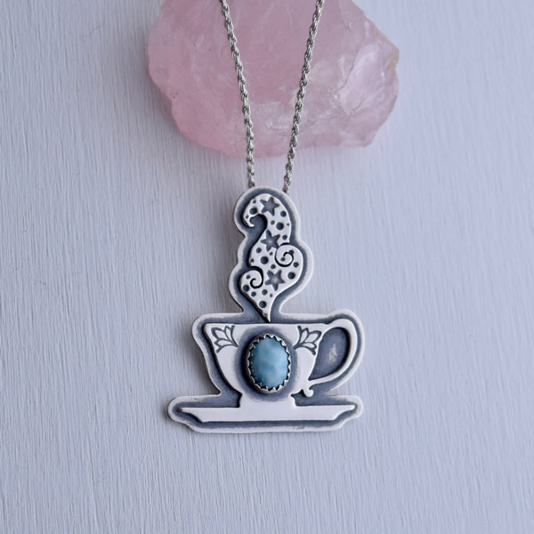 Cuppa Potion Pendant with Larimar