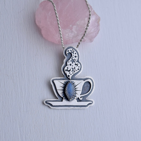 Cuppa Potion Pendant with Rainbow Moonstone